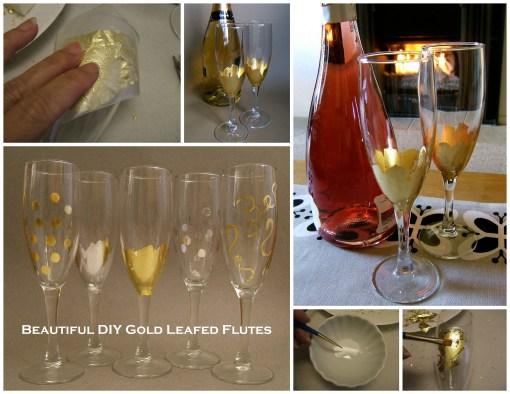 Leafed Champgne Flutes Collage