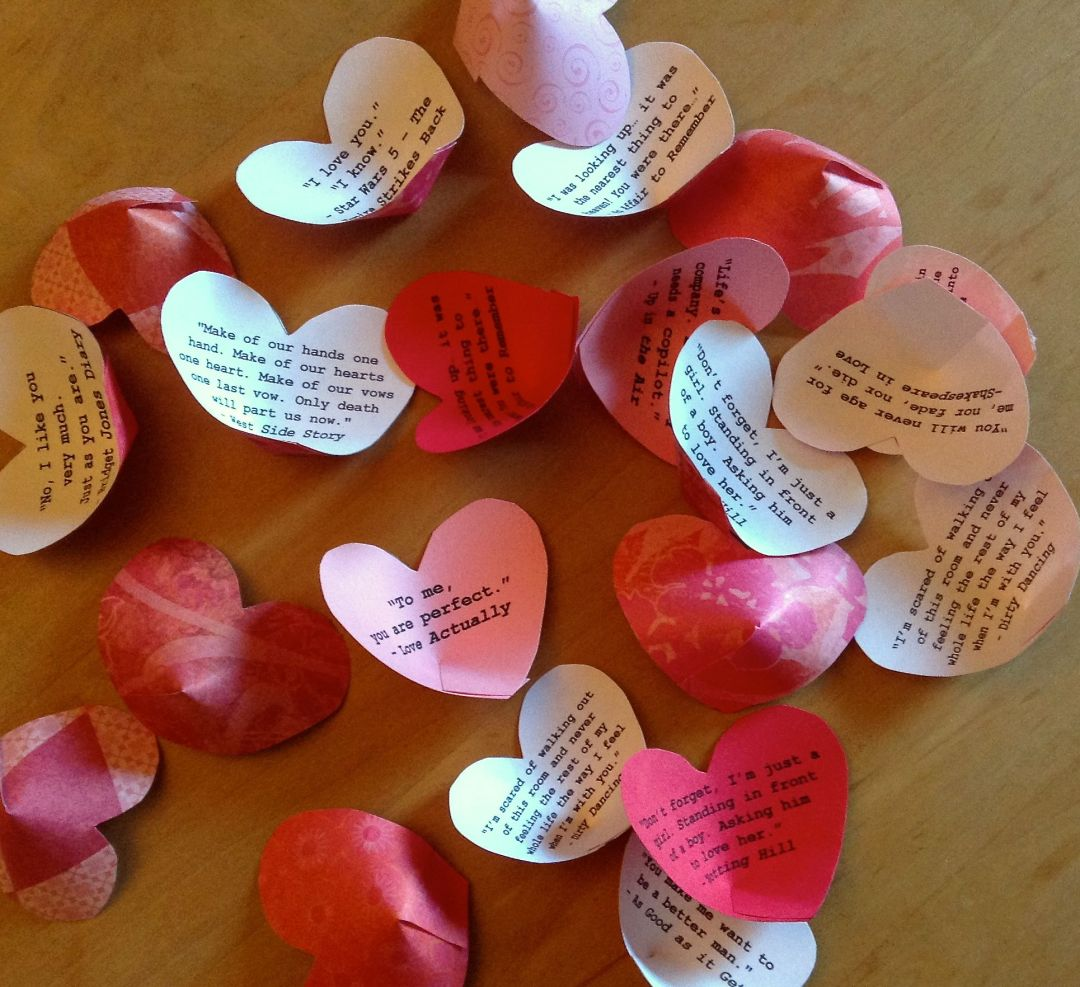 Paper Hearts with Romantic Movie Quotes