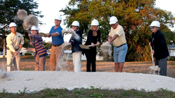 Groundbreaking of new Mainlands park last January. From left: Parks and Rec Director Greg Warner, Assist City Manager Diane Phillips, Commissioner Pam Bushnell, Fomer Mayor Beth Talabisco, Mainlands Section 3 Resident Bill Villela and Former Commissioner Patte Atkins-Grad