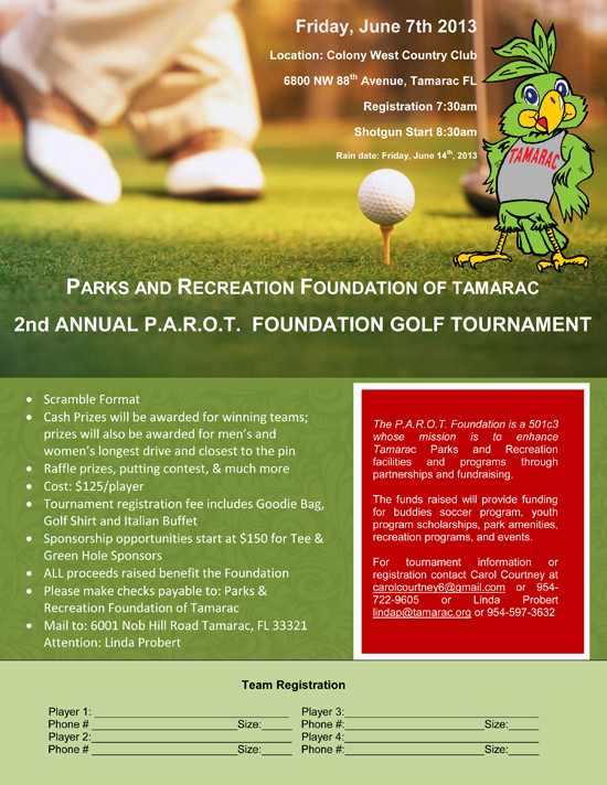 PAROT Golf Tournament Flyer 2013