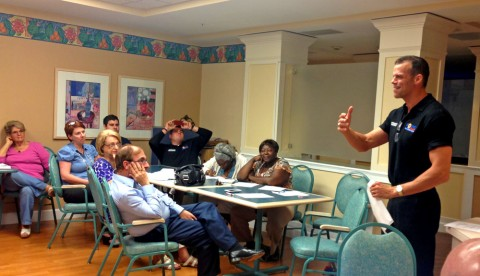 Broward County Commissioner Martin Kiar  discusses the idea of one of his constituents at the Tamarac Democratic Club meeting
