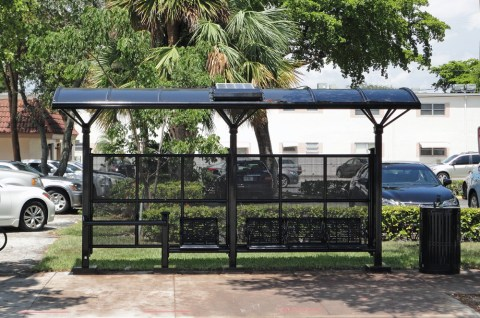 "This is an example of what our shelter will look like however, ours will be in ""Stone"" Color.  This is called the Kaleidoscope Transit Passenger Shelter. Thanks to the Commissioner Marty Kiar for contacting Broward County Transportation Department to send us this photo."