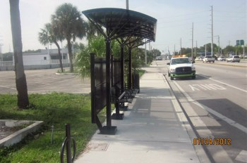 Another view of the shelter. This is just an example.  Tamarac bus shelters will be in stone color