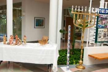 Manger, Festivus Pole and Menorah at Tamarac City Hall.