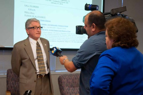 Newly appointed Mayor Harry Dressler is interviewed by Channel Four News