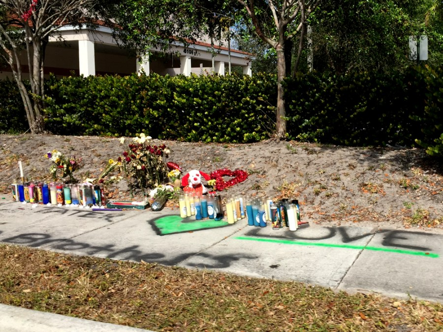 Roadside memorial for Brandon Cramasta in Tamarac