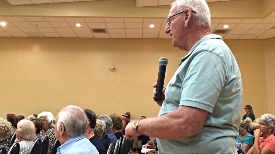 Dick Brown at the Neighborhood meeting in April