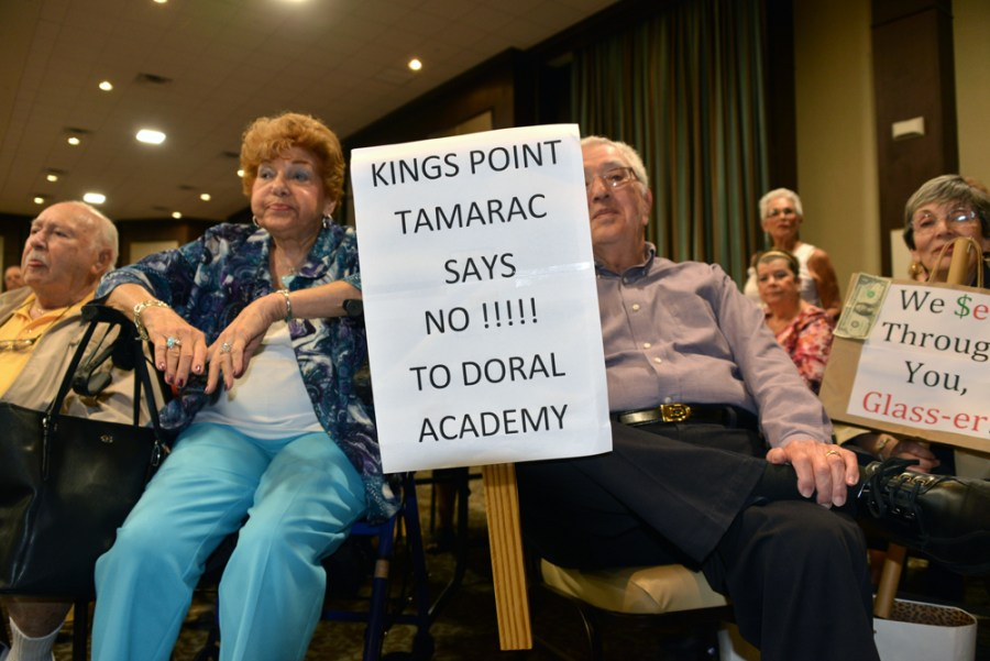 Informational meeting held at Kings Point where residents protested proposed charter school near their community.