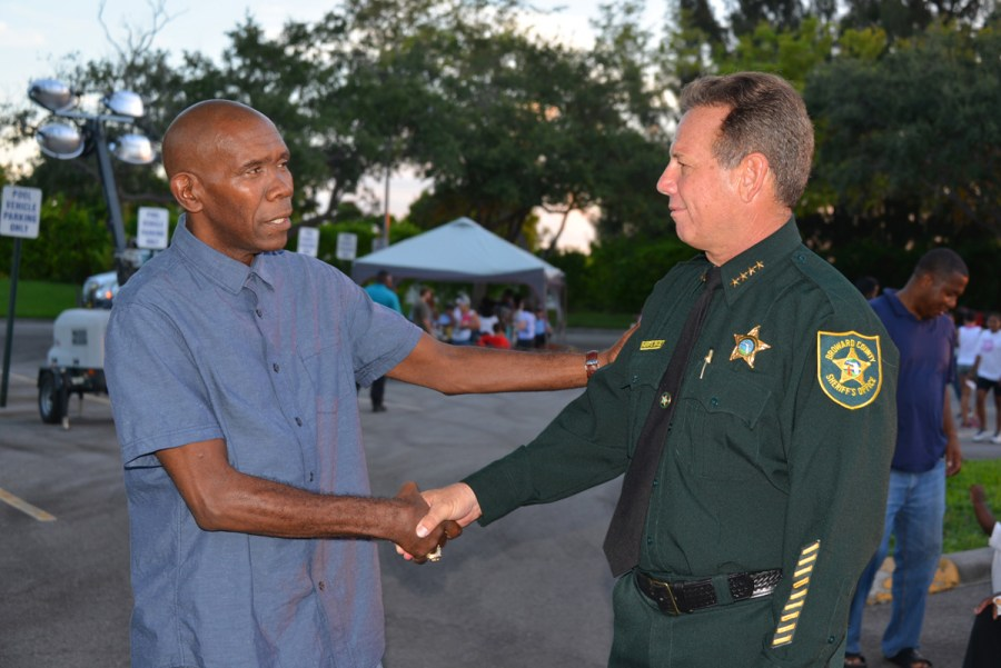 1976 Olympic Gold Medal boxer Howard Davis Jr. and Sheriff Scott Israel on Tuesday night