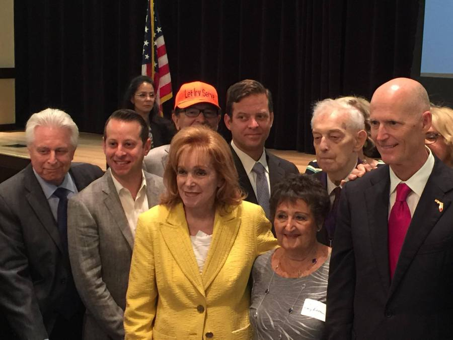 Governor Rick Scott with Senator Sobel and Rep Moskowitz along with members of the Jewish Federation.