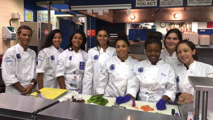JP Taravella culinary students selected to spend a week studying in France. Left to right: Sean Woodcock, Nicole Rivera, Ariel Grecia, Katherine Cohen, Karla Montolio, Gloria Louis, Sabrina Diaz and Dharimar Vasquez