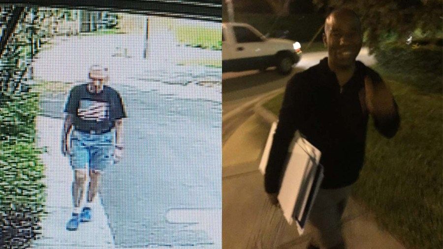 Tamarac resident Herb Daley (left) allegedly taking sign from resident in Tamarac. On right, man who is allegedly connected to Daley who is stealing signs.