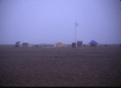 Camp in fog