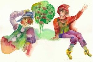 two people watercolor