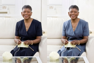 older-african-american-woman-smiling figure additions in Photoshop