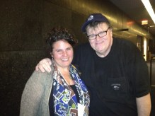 Tamara with Michael Moore in Lansing, Michigan, April 2013