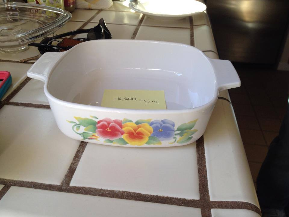 CorningWare Square Casserole with Pansies: 15,500 ppm Lead