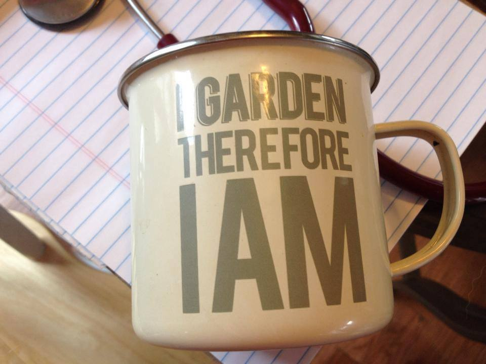 "2014 Enamelware Metal Mug, ""I Garden"" (Purchased at New Seasons Market): 15,000 ppm Lead"