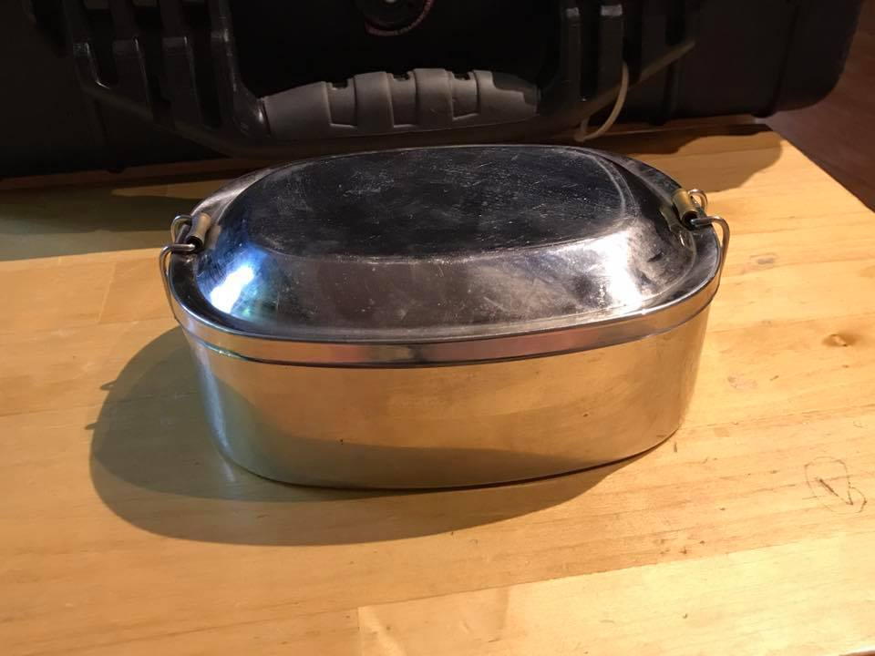 """""""Made in India"""" Stainless Lunch Box With Leaded Brass Accents"""