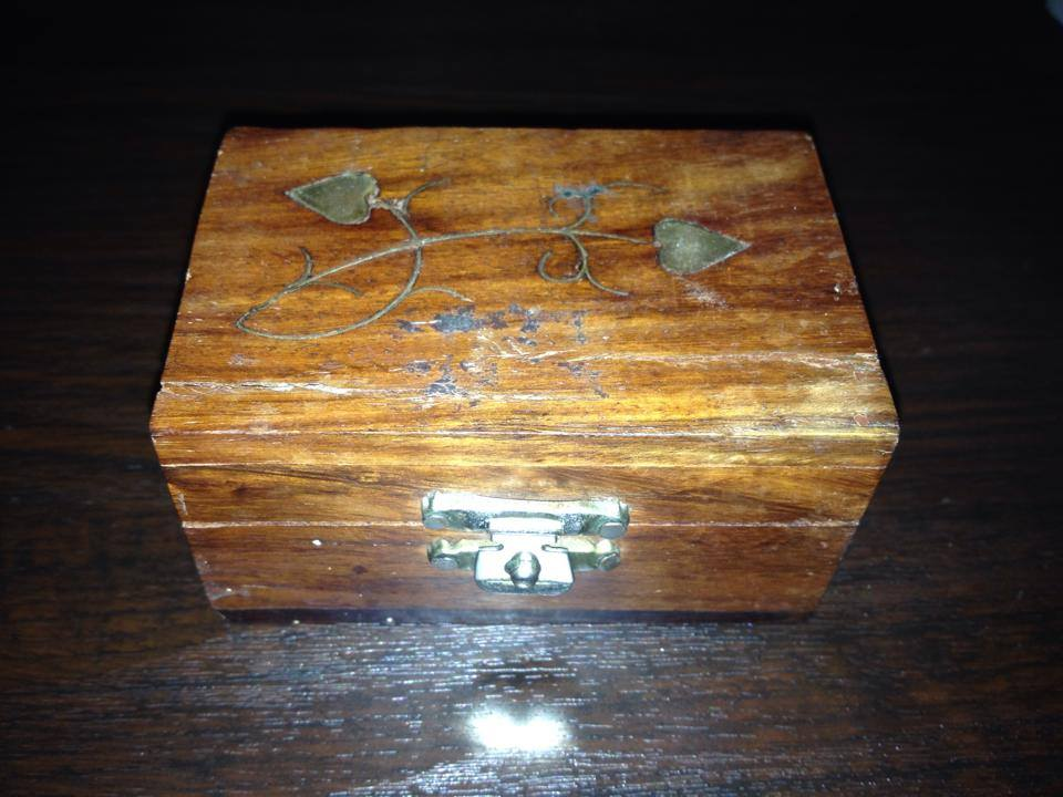 "Wooden ""Made In India"" Wooden Box with Leaded Brass Decorative Components"