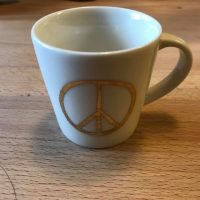 Starbucks Coffee Gold Peace Sign Espresso Mug