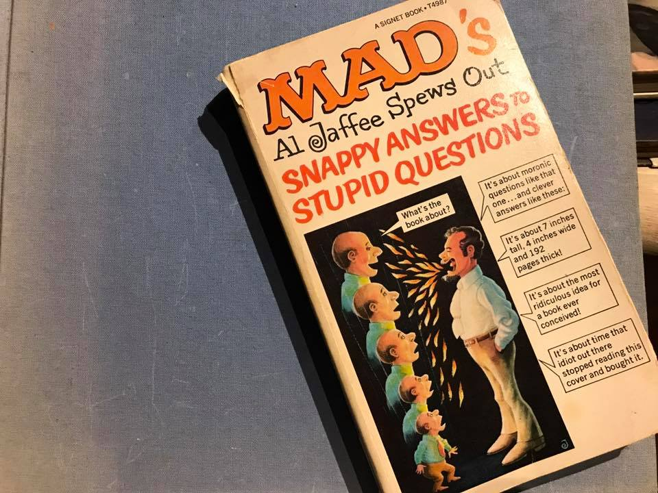 """1968 Paperback Copy of """"Al Jaffee Spews Out Snappy Answers To Stupid Questions""""   Tamara Rubin Lead Safe Mama"""