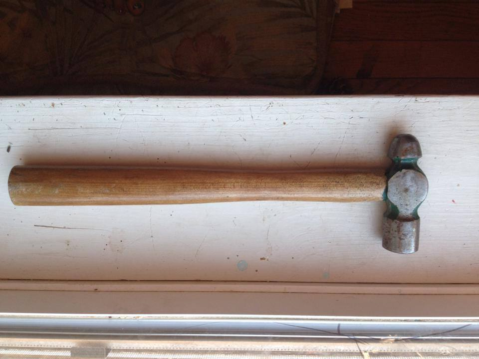 Older (Vintage) Hammer With Green Paint And Wooden Handle