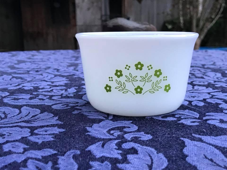 Vintage Pyrex Honeydew Summer Impressions Custard Cup