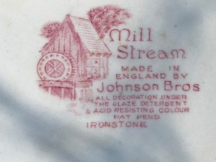Johnson Brothers Mill Stream Vintage Ceramic Ironstone Plate, Made In England