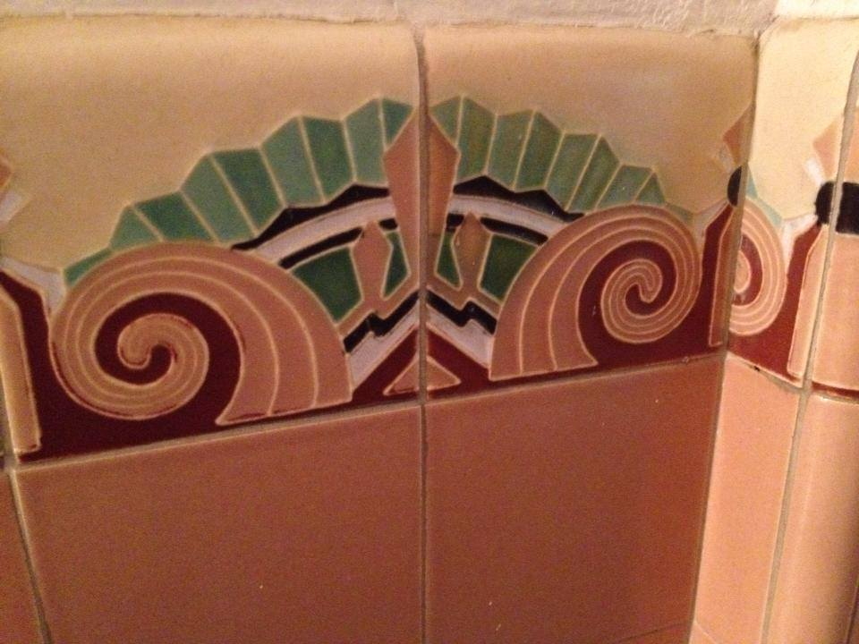 Vintage Art Deco Ceramic Tile In a San Francisco Middle School Auditorium