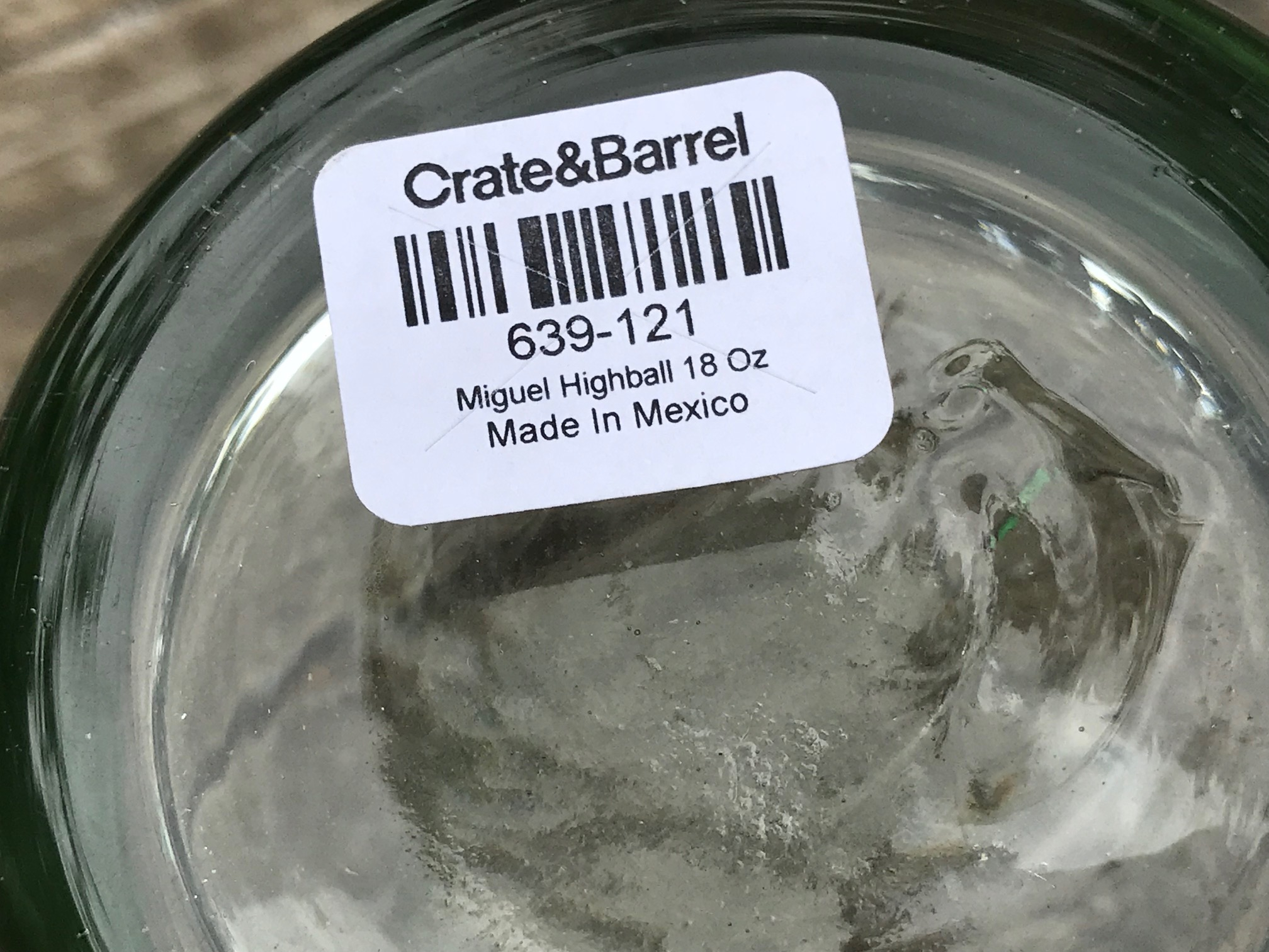 "Made In Mexico Crate & Barrel ""Miguel Highball"" Drinking Glass: Lead Free (Click for guidelines to buy Lead Free glasses!)"