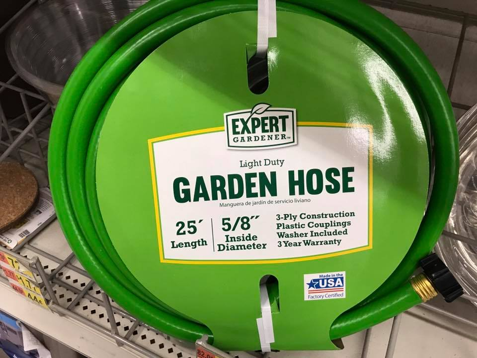 Expert Gardener Light Duty Garden Hose New On Shelf (2017) In Walmart, Made In USA
