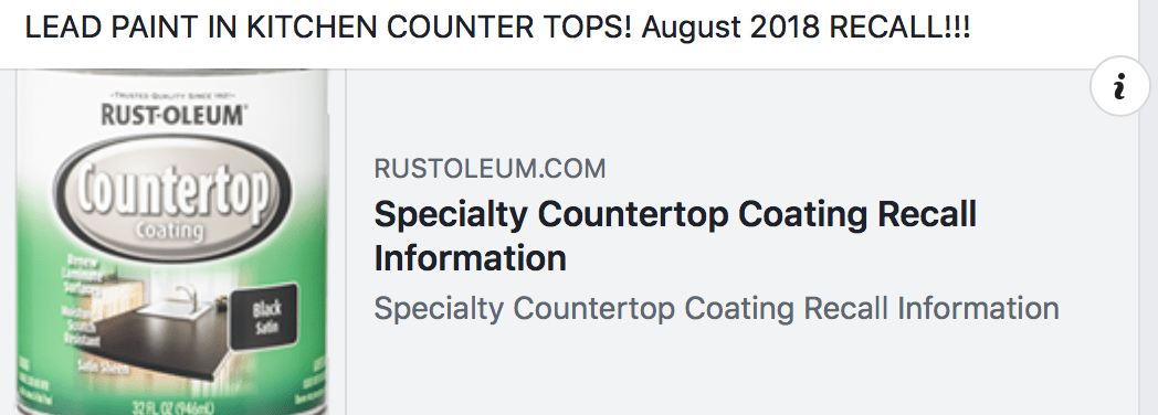 Lead Paint Recall, August 30, 2018 - Rust-Oleum Countertop Coating in Black Satin