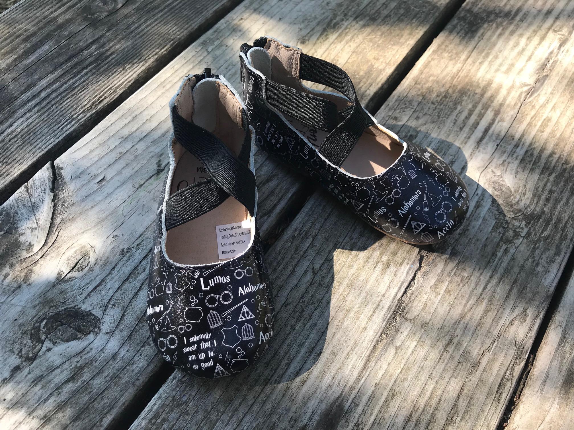 Monkey Feet Black Leather Ballet Style Zip Back Toddler Shoes [Harry Potter Theme Print]