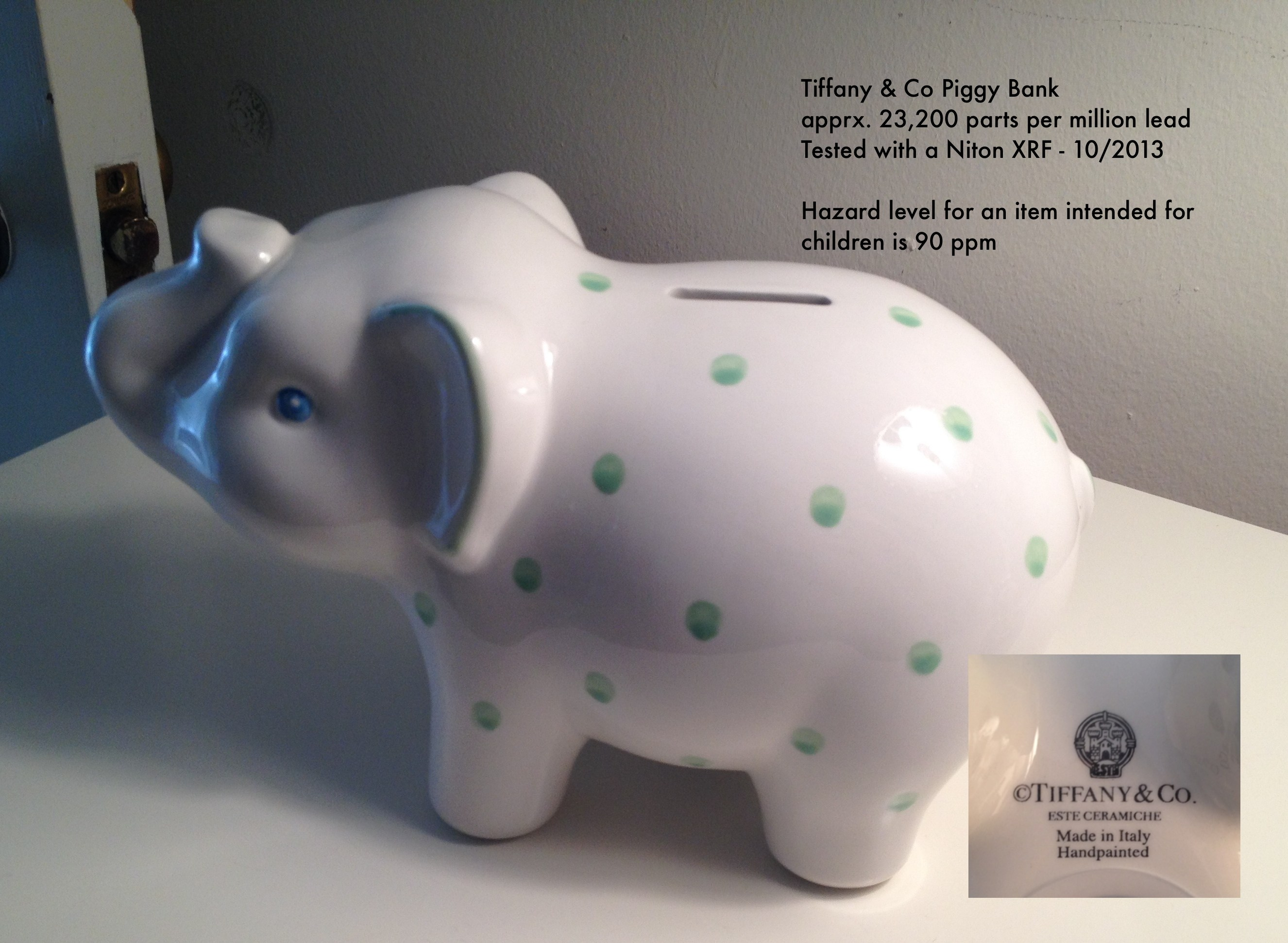 "This Tiffany & Co piggy bank tested positive for lead, but the company insists it is not a problem because it is ""not intended for use by children."""