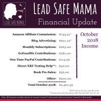 Lead Safe Mama Financial Update October 2018