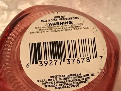 2018 Dollar Store Red Glass Mason Jar Coffee Mug: 11 ppm Cadmium