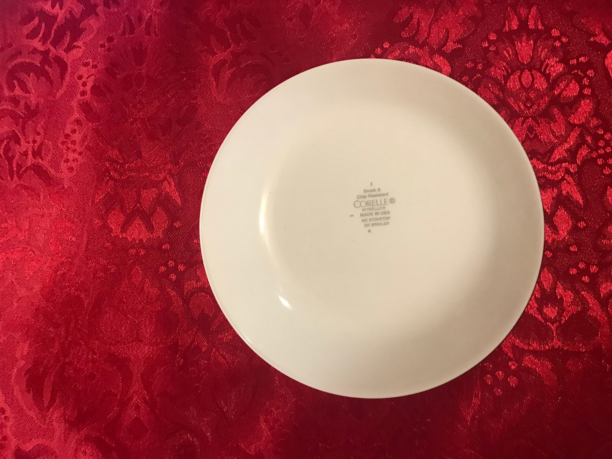 Small Corelle Plate With Red Floral Border: 2,788 ppm Cadmium + Arsenic