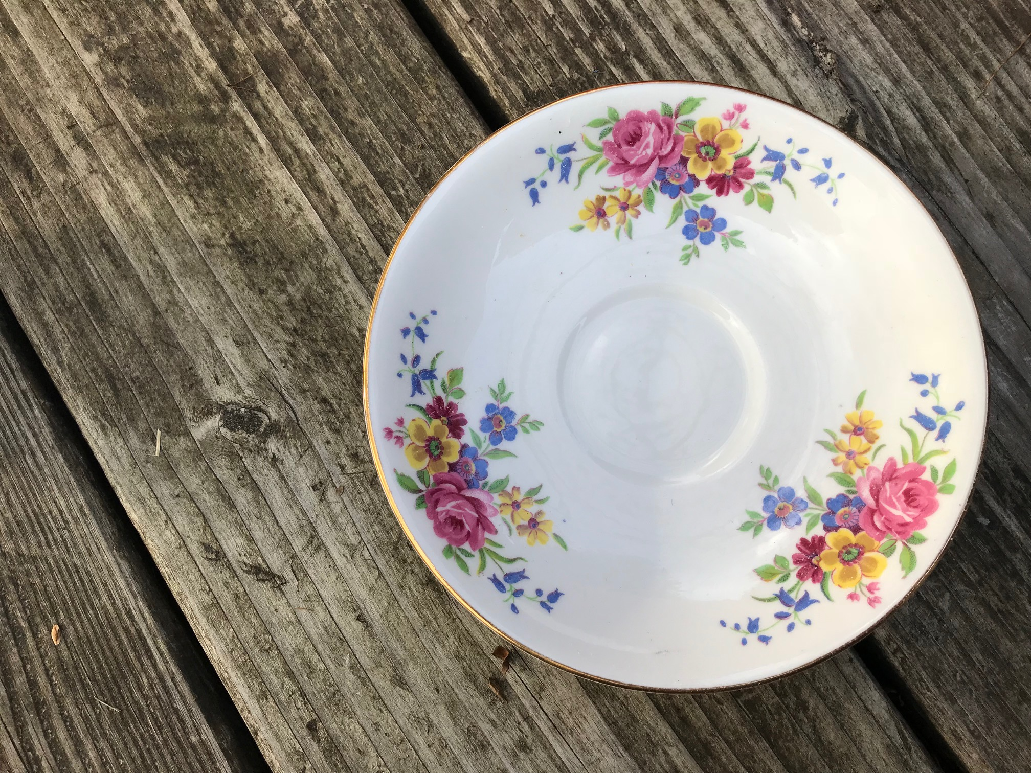 Vale Saucer Made in Longton England - Floral Pattern: 54,600 ppm Lead