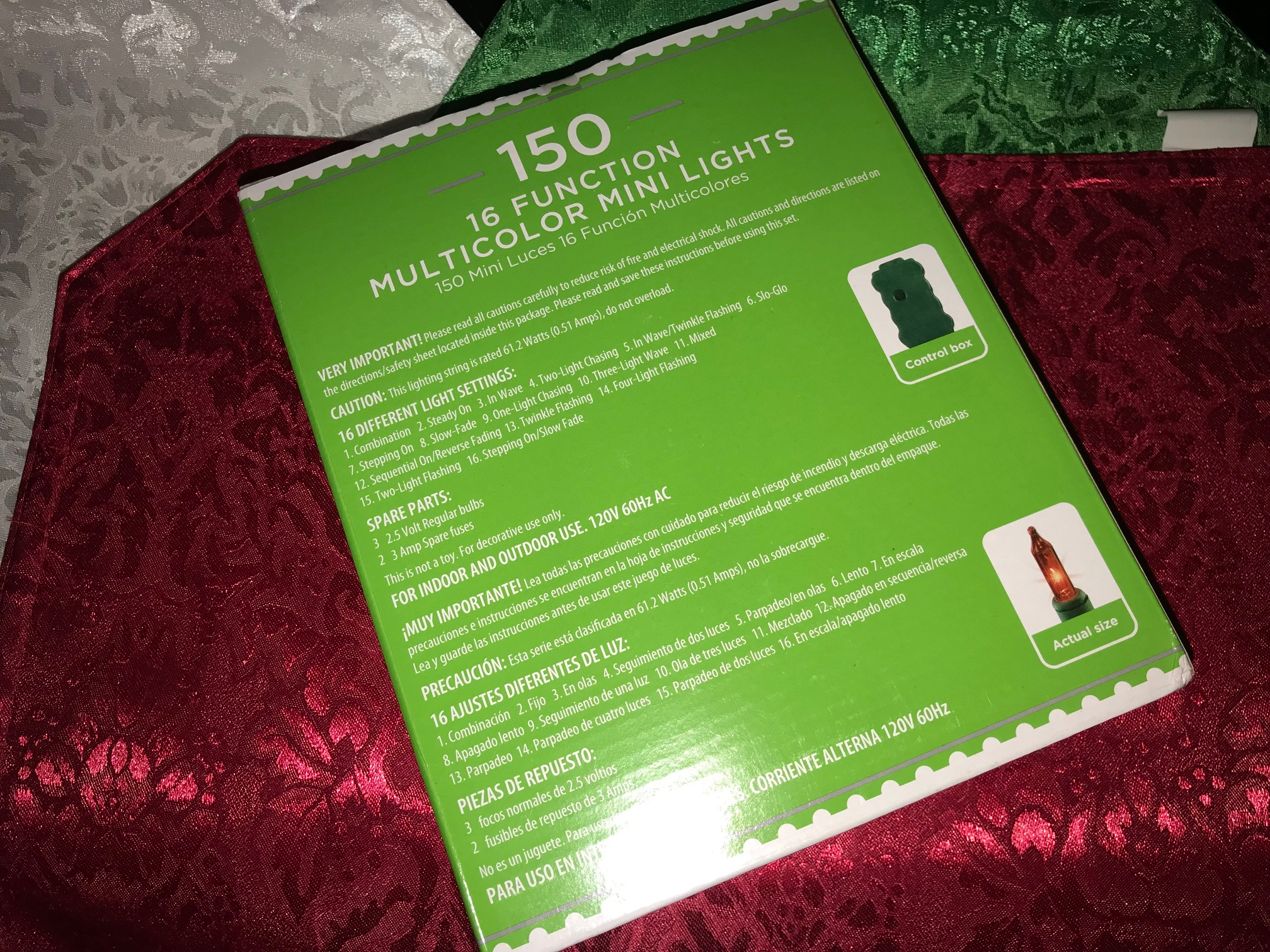 Walmart Holiday Time plug-in Christmas lights with green wire: Lead-free!