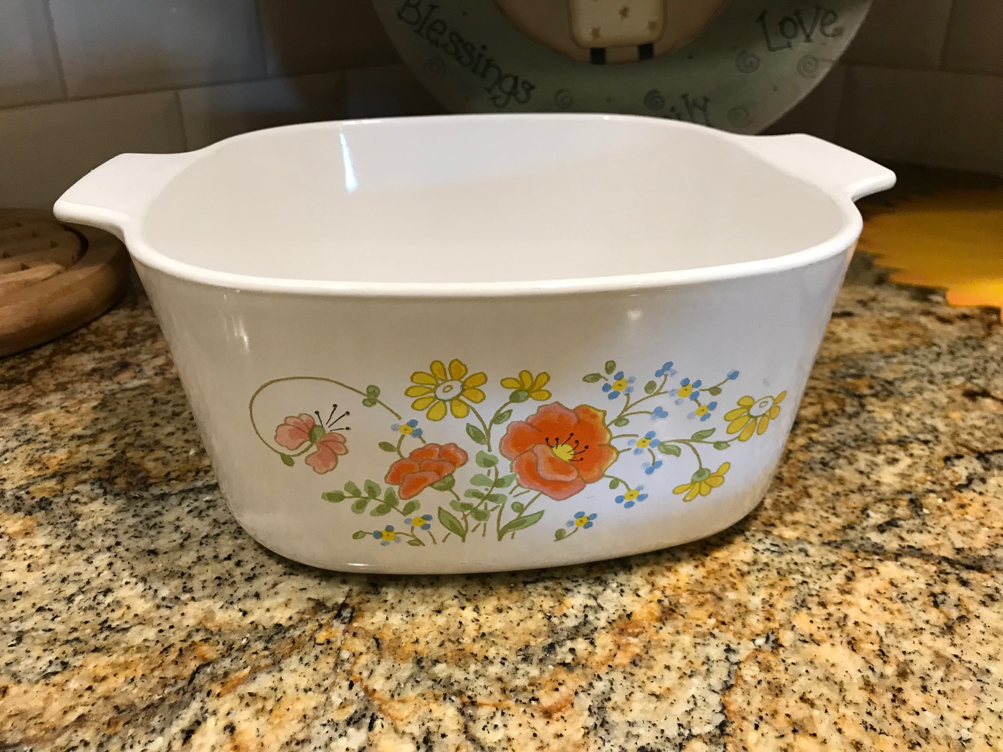Corningware 3-Quart Casserole Dish with Floral Pattern: 29,900 ppm Lead + 602 ppm Cadmium [For context, 90 ppm Lead is considered unsafe in items for kids.]