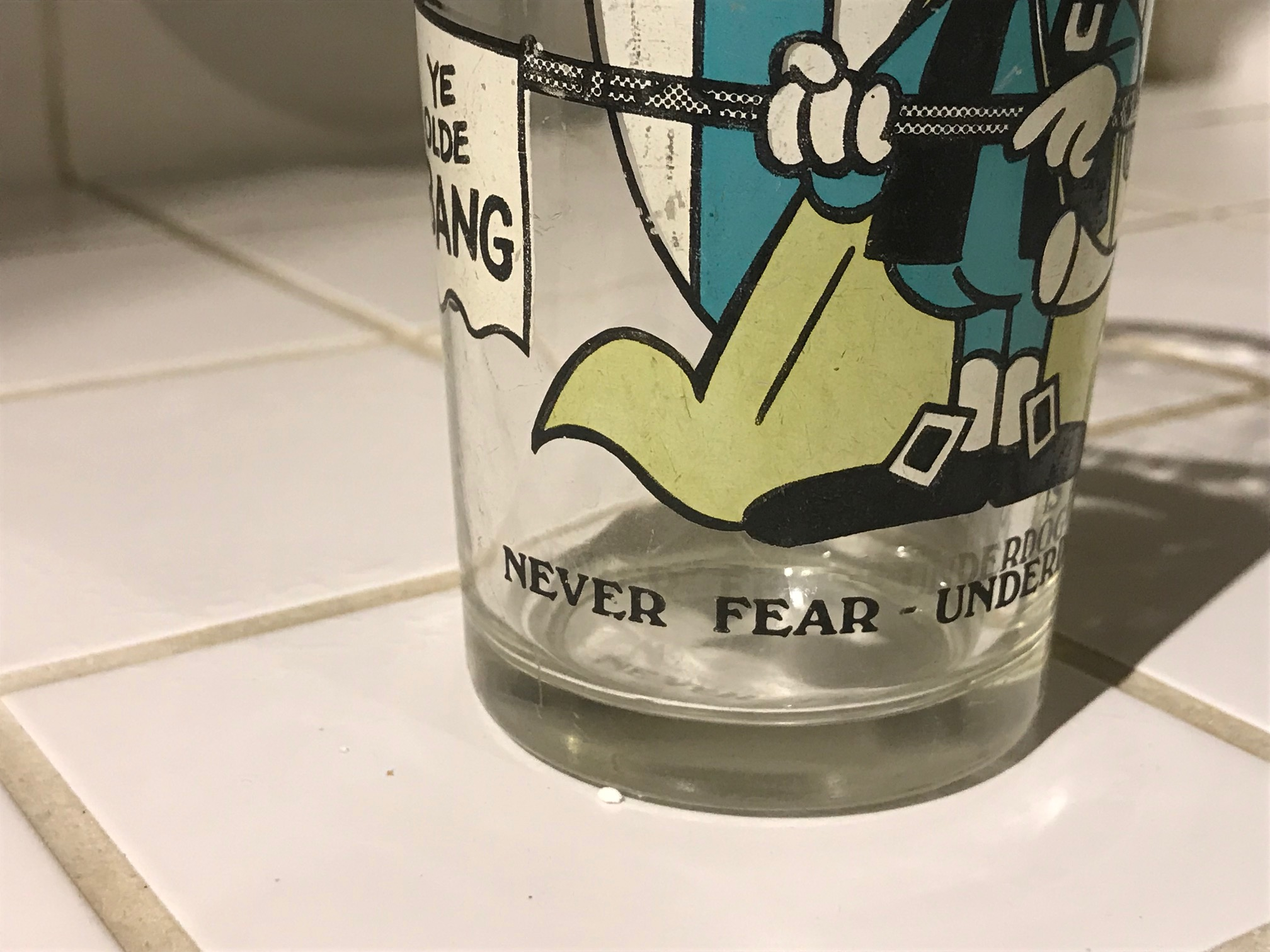 "Vintage (1970s) ""Never Fear - Underdog is Here"" Glass: 57,700 ppm Lead & 695 ppm Cadmium [90 ppm Lead is unsafe for kids.]"