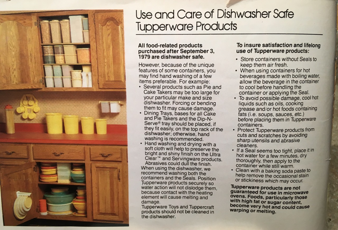 Use and Care of Dishwasher Safe Tupperware Products 1982 Toxic Tupperware Lead Safe Mama