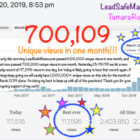 700000 Unique views on Lead Safe Mama dot come March 20 2019