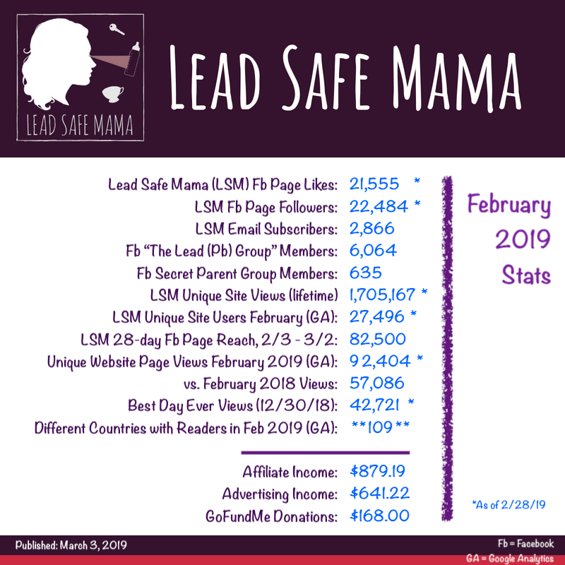 #LeadSafeMama Stats: 92,404 page-views by 27,496 readers in 109 countries in February of 2019!