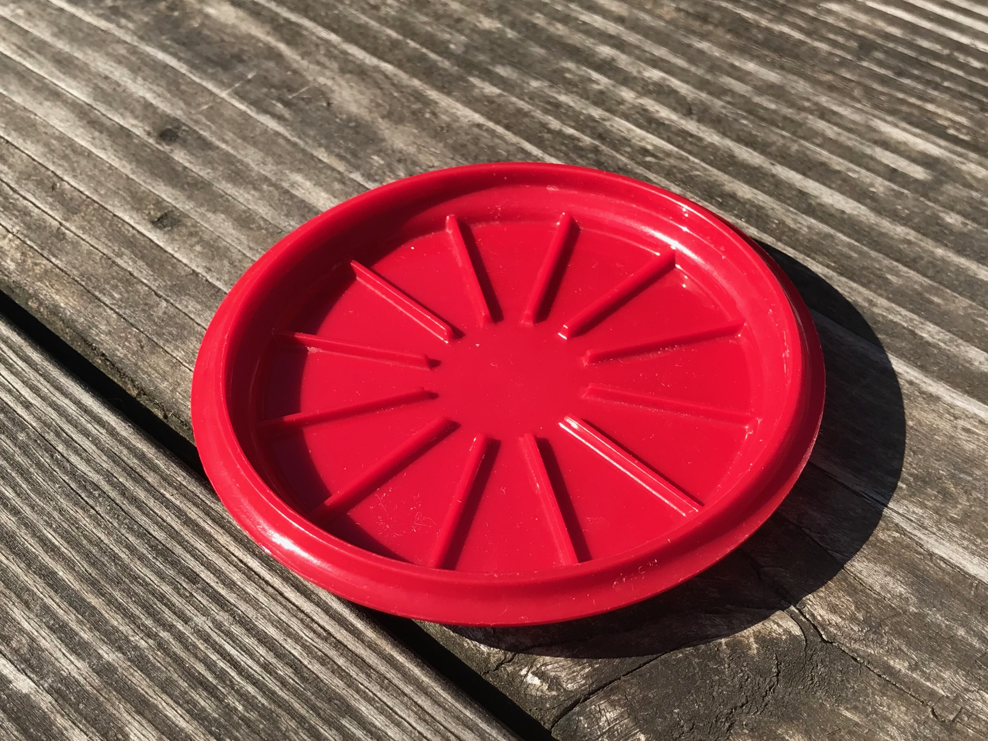 Red Tupperware Mug and Saucer, Year Unknown: Red plastic elements are negative for Lead, Mercury, Cadmium & Arsenic.