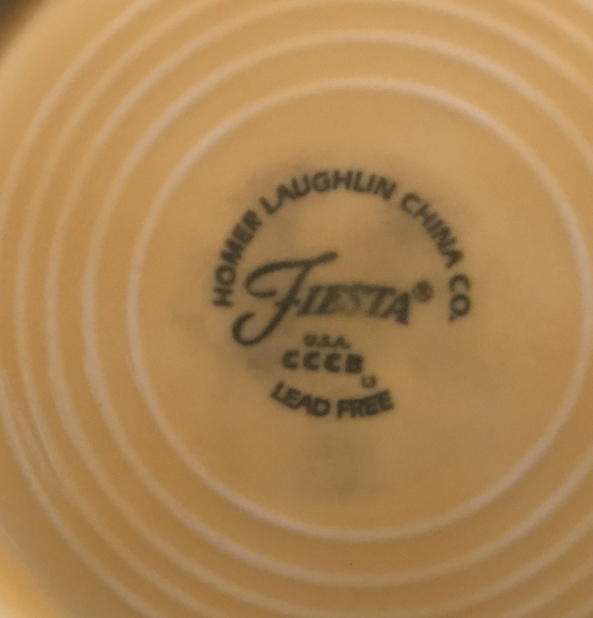 """Modern Yellow Fiesta Homer Laughlin China Company Small Plate. Marked """"Lead Free"""". Non-Detect (negative) for Lead, Cadmium, Mercury and Arsenic!"""
