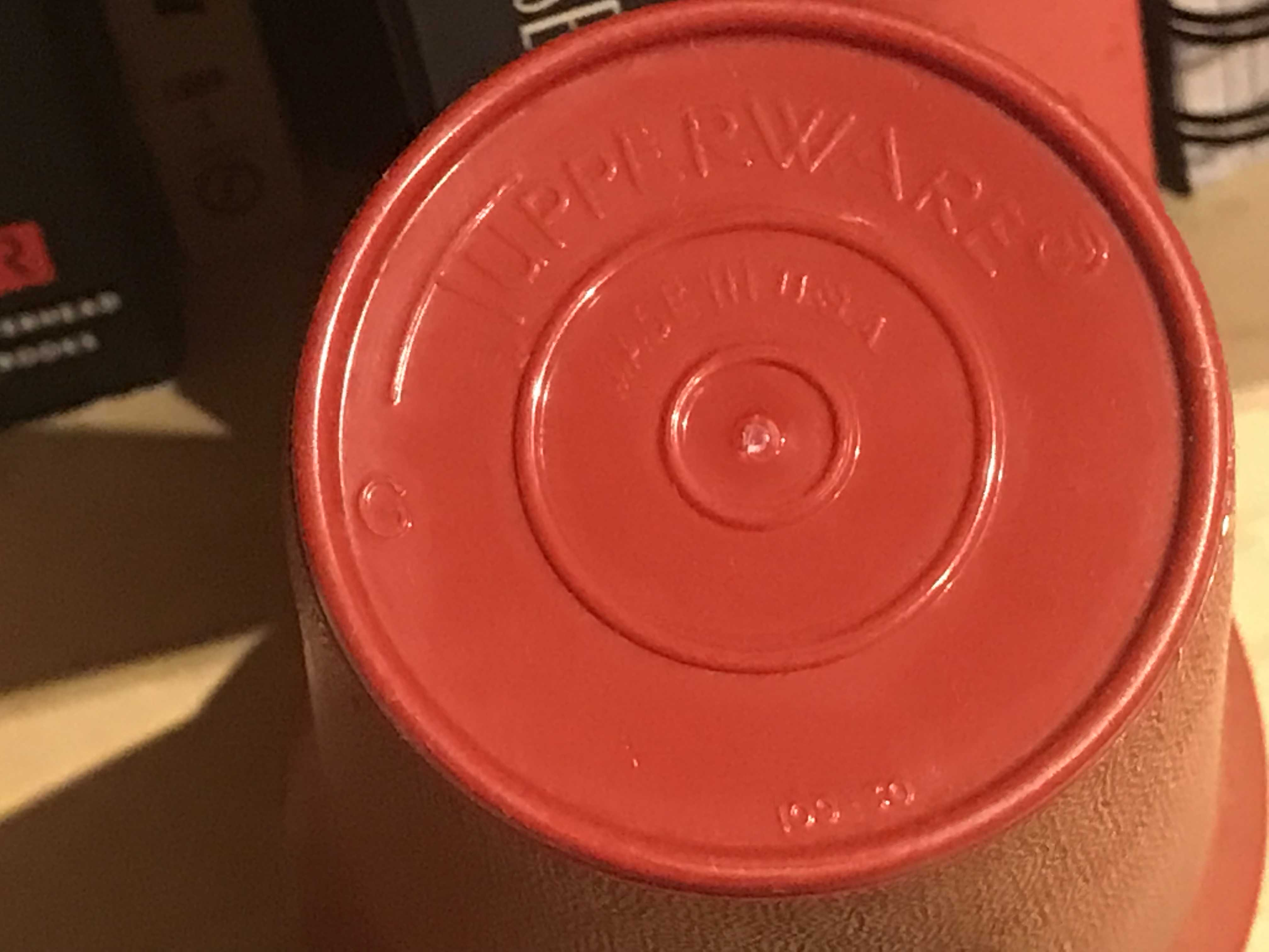 Vintage Red Plastic Tupperware Child's Cup, Year of Manufacture Unknown. Unlike other colors, this was negative for Lead, Mercury, Cadmium & Arsenic.