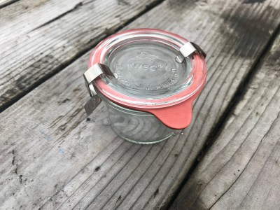 Small newer Weck baby food canning jar with glass lid, as high as 159 +/- 18 ppm Lead [100 is unsafe for kids]