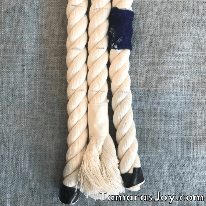 pencil marks to help add rope in even layers